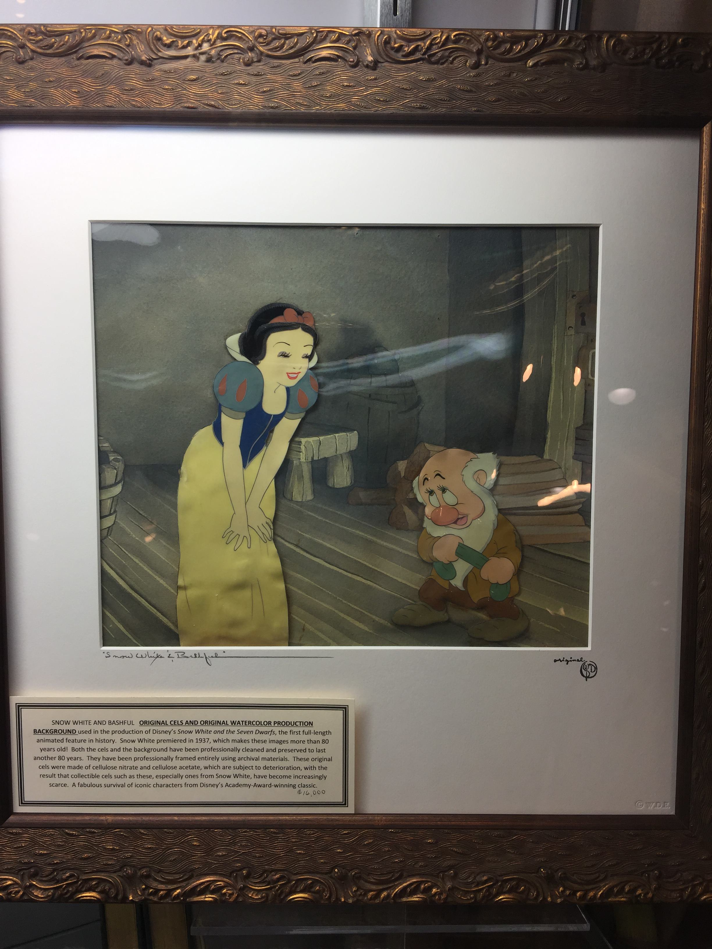 An original cel from Snow White and the Seven Dwarves